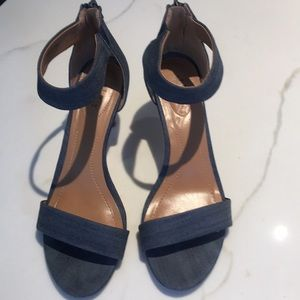 "2"" cute jean material heel with faux wood heel"